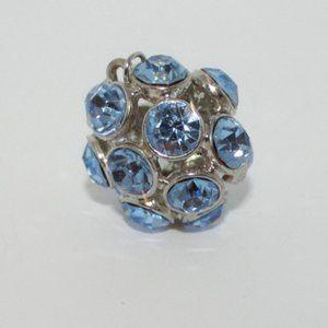 Aquamarine Blue Rhinestone Ball Pendant